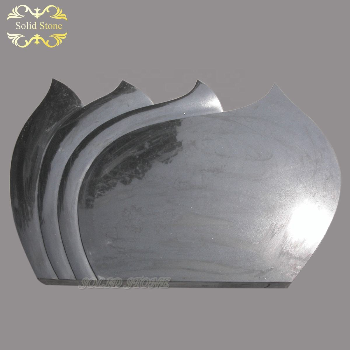 Vertical design surface polished natural Chinese black granite funeral headstone