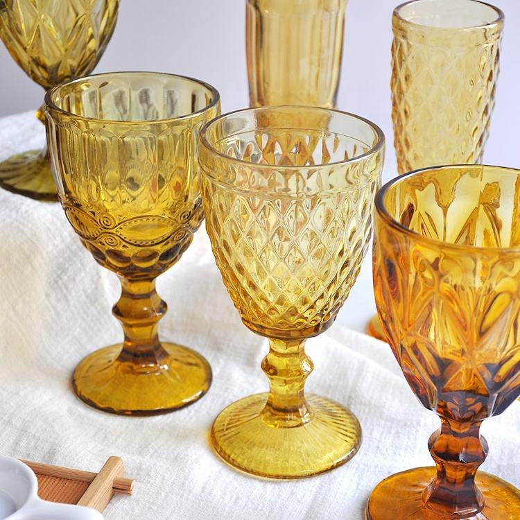 One-Stop Service Cheap Glass Goblet Customized Vintage Water Amber/black/cobalt Blue Colored Decorative Wine Glassware