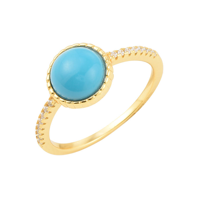 Beautiful design bezel setting gold plated 925 sterling silver turquoise women ring