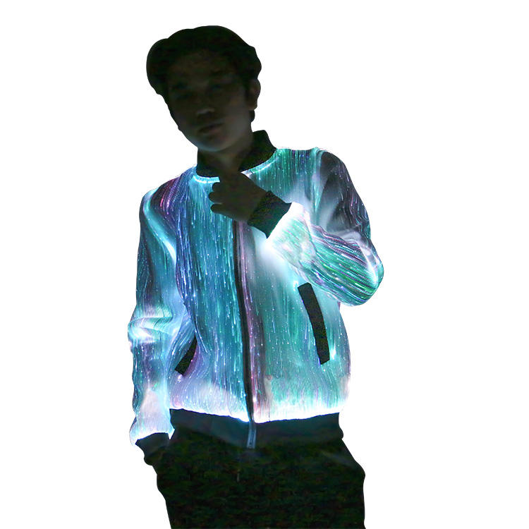 2020 Rave party club dance led light up jaqueta dos homens brilham no escuro