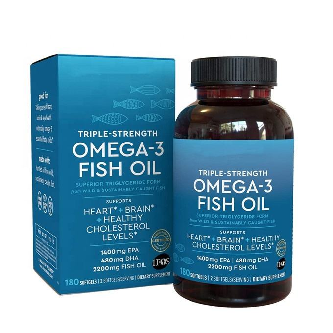 2020 Hot Sale Omega 3 Fish Oil Triple Strength Supplement with Essential Fatty Acid Combination of EPA and DHA 180 Capsules