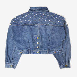 Oem factory punk style beading decor jean jackets for ladies
