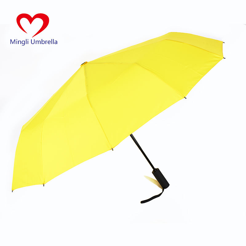 Umbrella Manufacturer 23 Inch 12K Yellow Automatic Windbreak Umbrella Can Be Customized