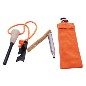 Pocket Survival Kit Contain Fire Bellows Wood Handle Flint Fire Starter with Fatwood