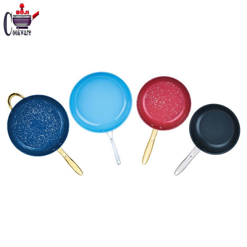 Hotel supplies wholesale High Quality Stainless steel pan non stick coating induction frying pan with Iron handle