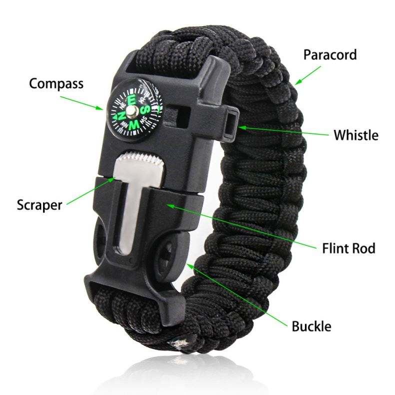 Paracord Bracelet Tools Survival Bracelet Manufacturer High Quality Mens Friendship Easy Adjustable Clasp Woven 550 Cord Length Paracord Survival Rope Bracelet Led Light Tools
