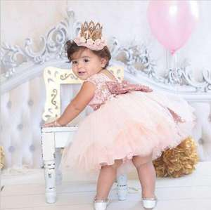 New Fashion Flower Sequin Girl Dress Party Birthday Wedding Princess Toddler Baby Girls Clothes Children Kids Girl Dress
