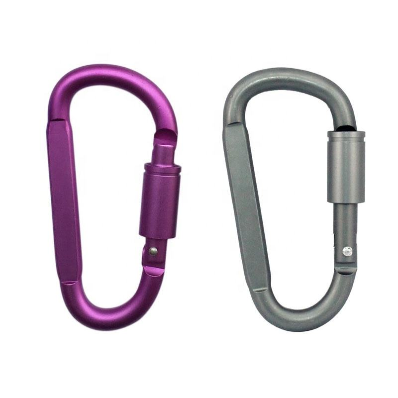 8mm D Shaped Aluminum Anodizing Decorative Spring Snap Hook/ Key Chain/ Climbing Carabiner