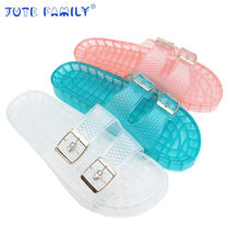 2019 Factory Home trendy Price latest ladies summer flat platform slides Pvc Shoe Girl Jelly Slippers And Sandals Jelly slides