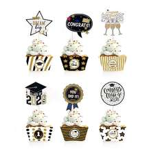 Graduation Party Supplies Cake Accessories Decoration Cake Topper Set Cake Paper Baubles Graduation Cupcake Toppers