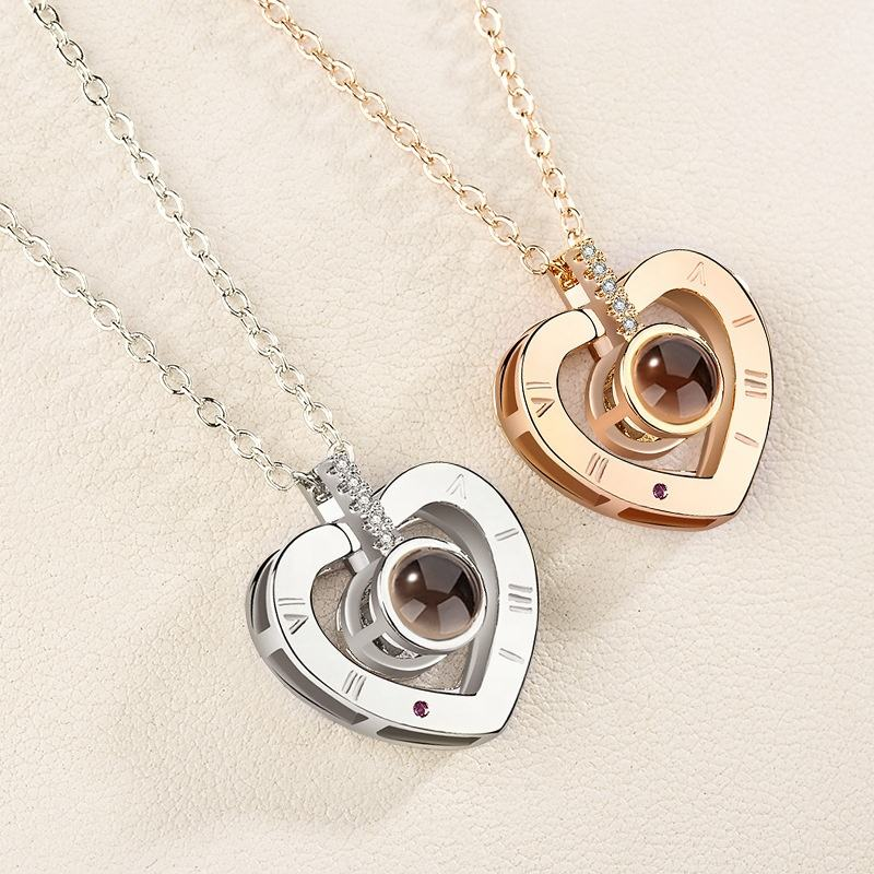 2020 Fashion Valentines Day Gifts 100 Languages I Love You Rose Gold Love Memory Projection Zircon Pendant Necklace