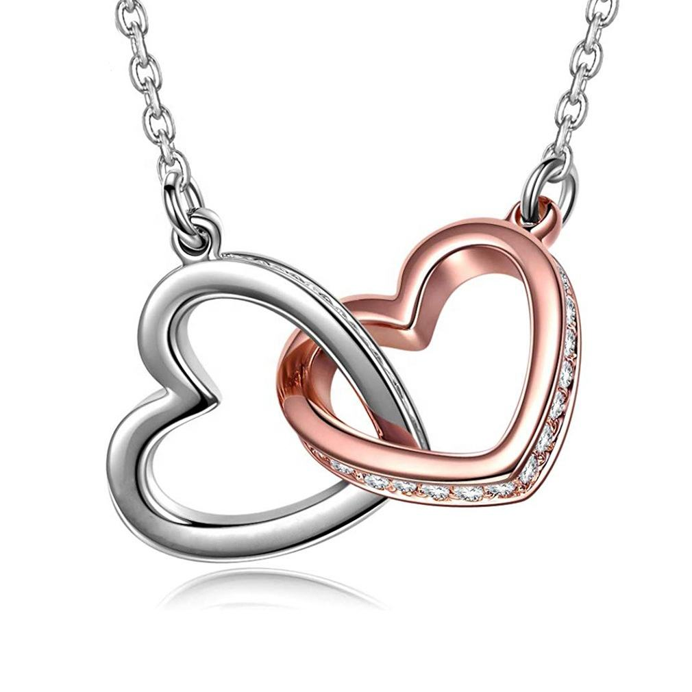 Fashion At First Sight Love Heart Pendant 925 Sterling Silver Necklace Women Jewelry Valentine's Day Gift
