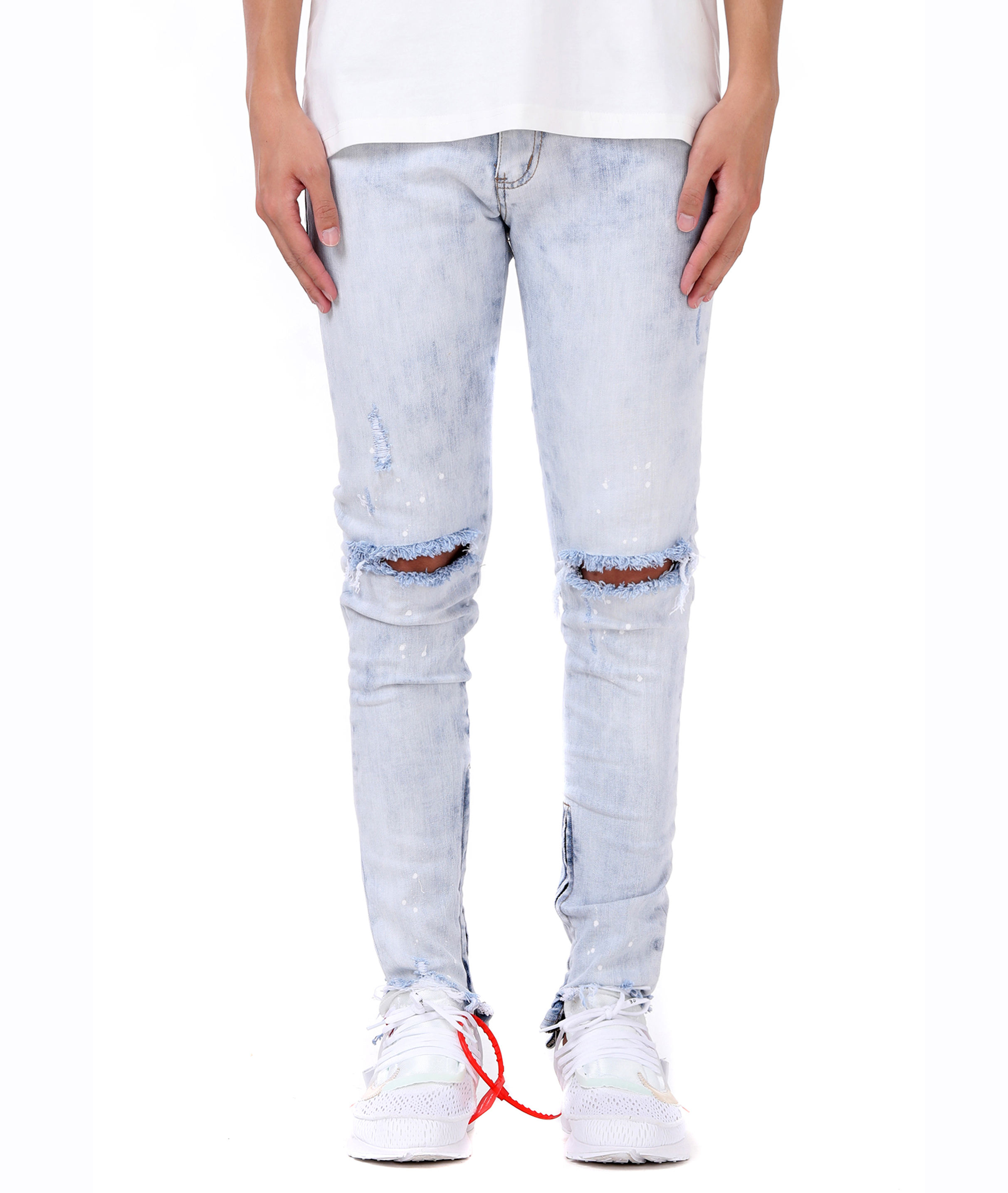 Mens destroyed denim slim ripped LIGHT BLUE hip hop fashion jeans