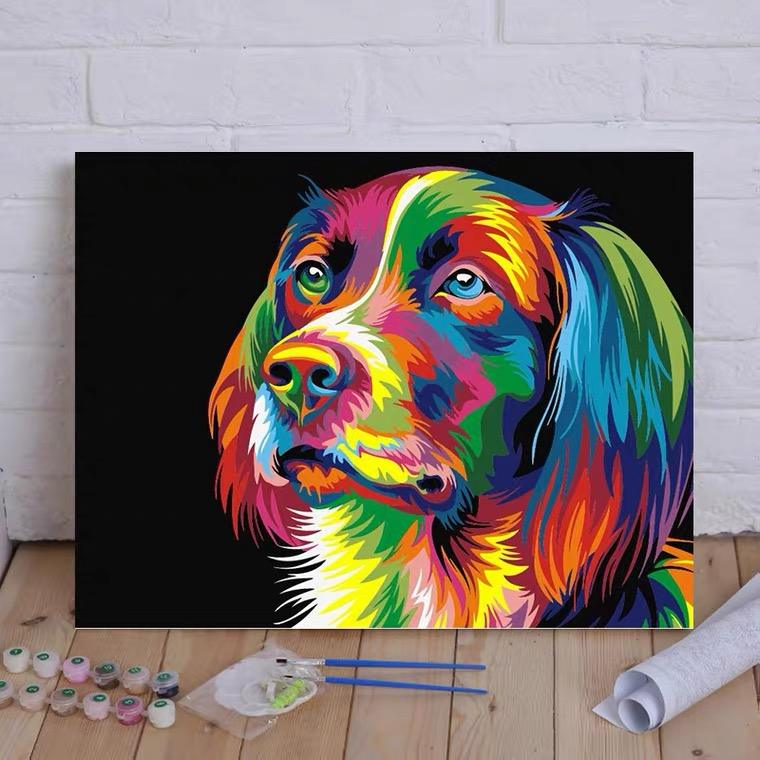 Factory Direct Modern Style Pop Art Abstract Dog DIY Paint by numbers Canvas for Kids and Adults