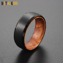 8mm Black Tungsten Ring with Whiskey Barrel Wood Insert Domed Brushed Finished Beveled Edge Comfort Fit