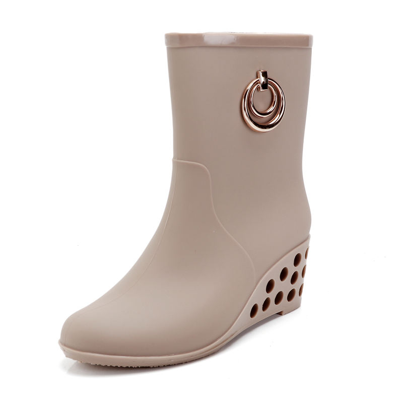 Ladies Fashion PVC Wedge Heel Rain Boots
