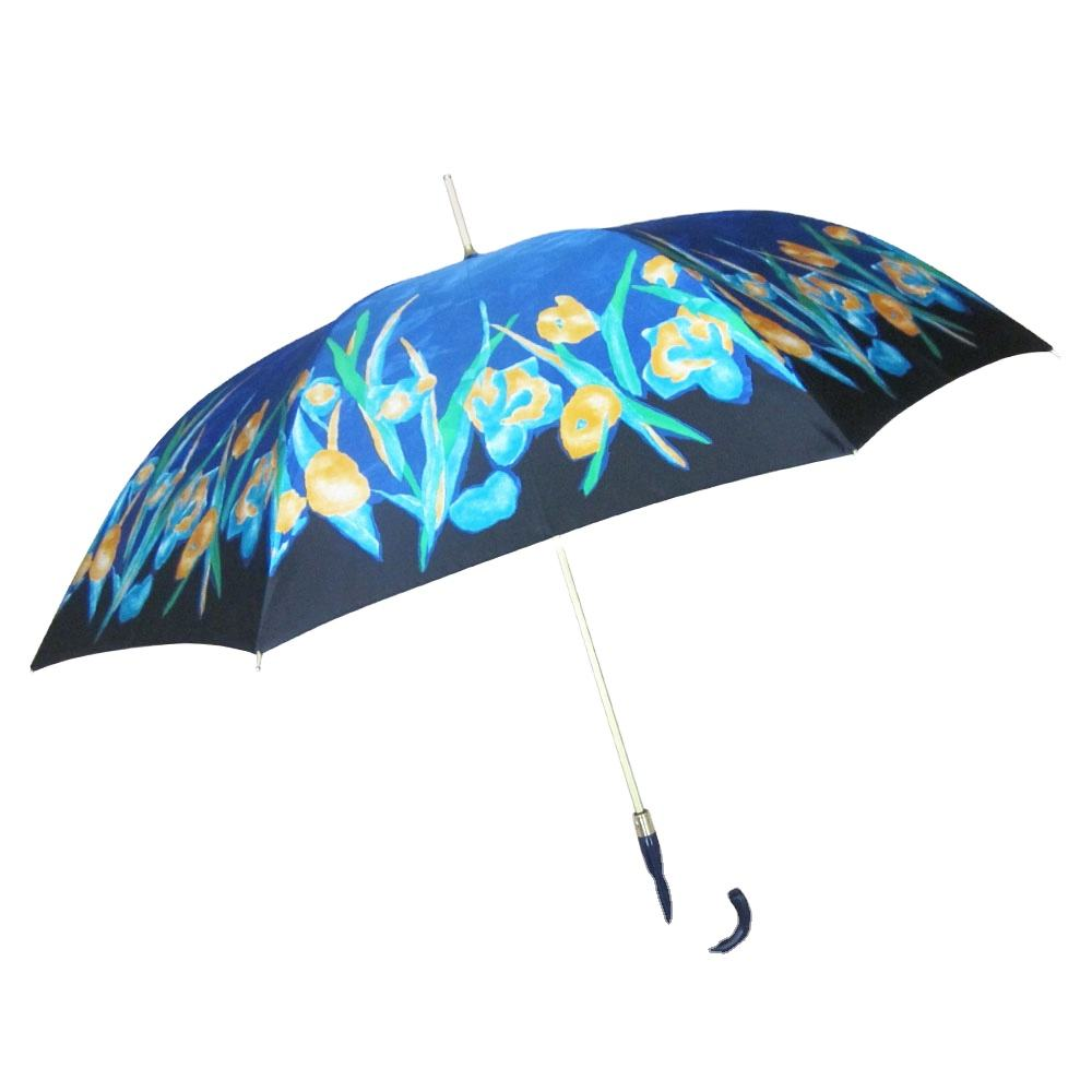 "23""*8K High quality premium golden frame flower printed satin lady's umbrella"