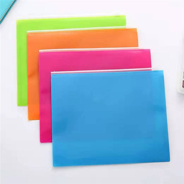 China factory seller transparent custom A4 PVC document colorful zipper bag
