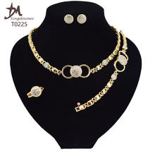 T0225 2020 High quality 18 K gold-plated X O fashion jewelry set