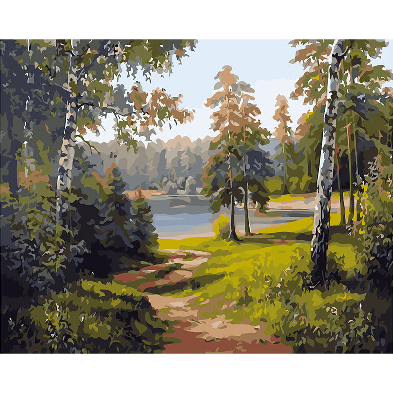 DIY Oil Painting Kit for Beginners & Adults Paint by Numbers Forest Lake Paintings Arts Craft for Home Decoration 16x20 inch