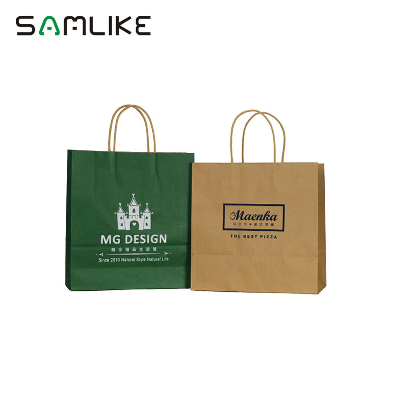 Custom Afdrukken Voedsel Carryout Verpakking Twisted Handgrepen Bruin Kraft Takeaway Papier Carrier Bag