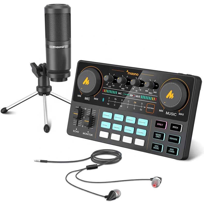 MAONOCASTER Portable Microphone Studio Microphone with Professional Live Sound Card Set for Phone or Computer