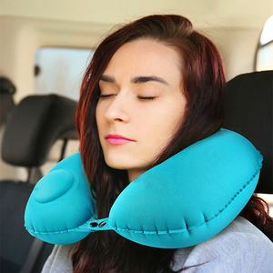 New Type PVC Flocking Inflatable U Shape Travel Neck Pillow With Eyemask