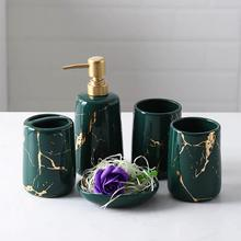 5pcs Fashion Marble Ceramic Bathroom Set Household Wash Brush Cup, Liquid Soap Dispensers, Soap Dishes