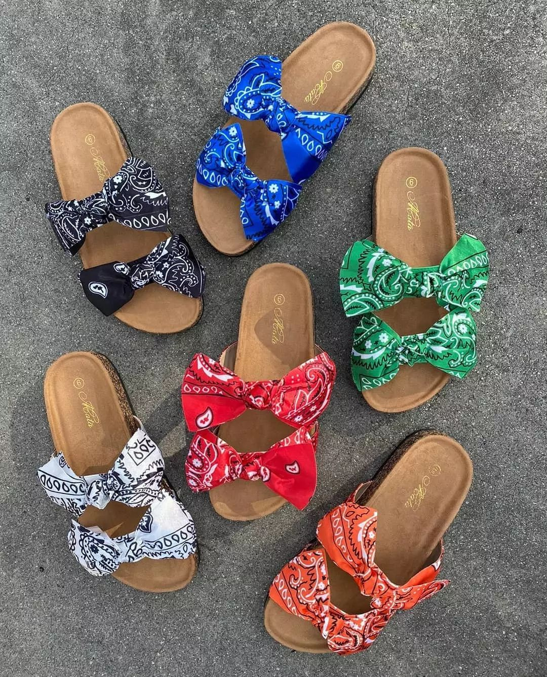 Happyslides Orange Pink Blue Bandana Printed Ins Slip On Slide Footwear Slipper Flat Bow Sandals Bandana Slides