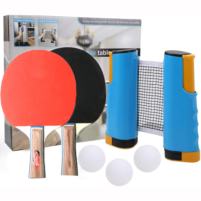 Regail Ping Pong paddle Set with retractable table tennis net +2 rackets + 3 Balls,customization Table Tennis Racket suit