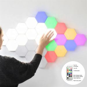 Creative Living Room Bedroom Background wall Decoration Lights Honeycomb Smart Control DIY LED RGB Panel Lights