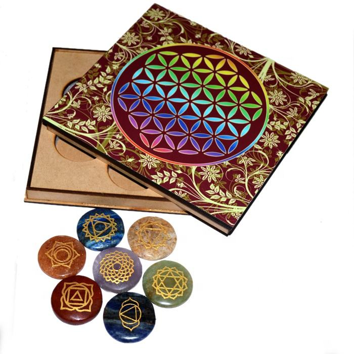 Engraved 7 Chakra Disc Set with Wood Gift Box | Wholesale chakra Reiki gift box