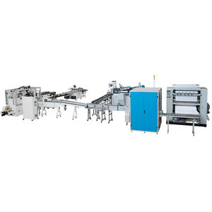 Fully Automatic facial tissue paper interfold production line with log saw and poly bag packing