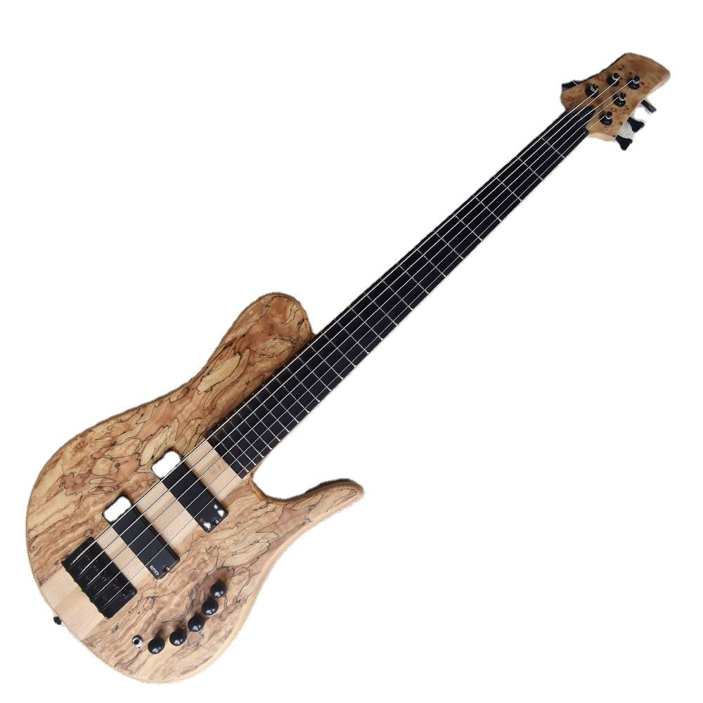 Flyoung 5 Strings Electric Bass Guitar Matte Finish Custom Guitar Ash Neck Through Body