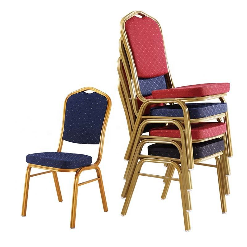 Free sample stackable hotel commerical furniture cheap metal frame fabric cover banquet event chairs wedding party hotel chair