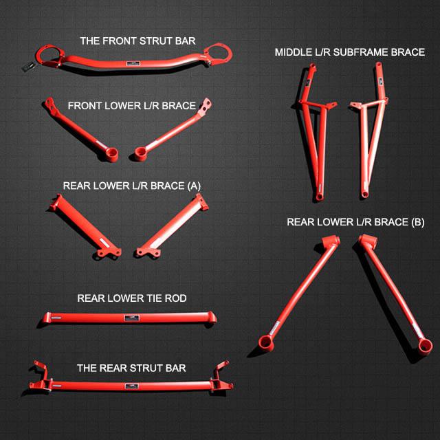 4 Point 02-05 Subaru Impreza Lower Arm Brace Cross Tie Bar Pink