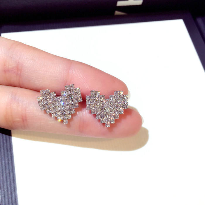 925 Sterling Silver Needle Sparkling Rhinestone Heart Stud Earrings Hypoallergenic 15mm Small Crystal Heart Shape Earrings