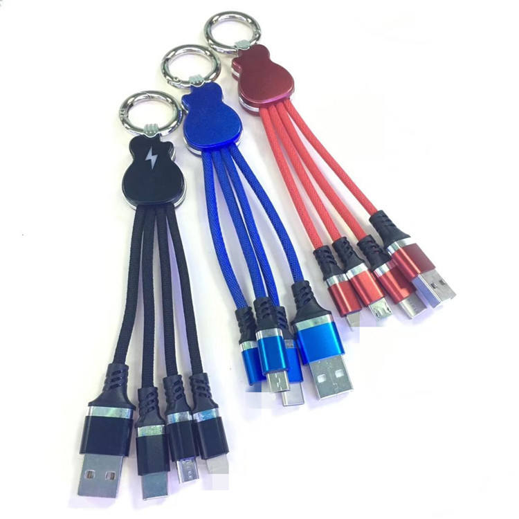 Custom Gift Logo 3 in 1 Charge Cable USB Data Transfer Cable Creative Keychain For All Mobile Phone