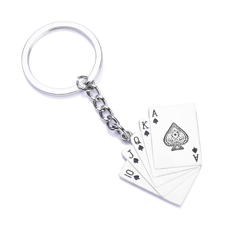 Hot sale travel souvenir key ring waterproof business silver poker keychain
