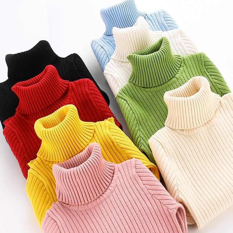 Pure Color Knitwear Baby Sweater Ribbed Stylish Turtleneck Sweater for Kids