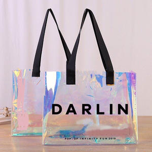 custom transparent PVC shopping bag 2020 reusable fashion pvc tote bags