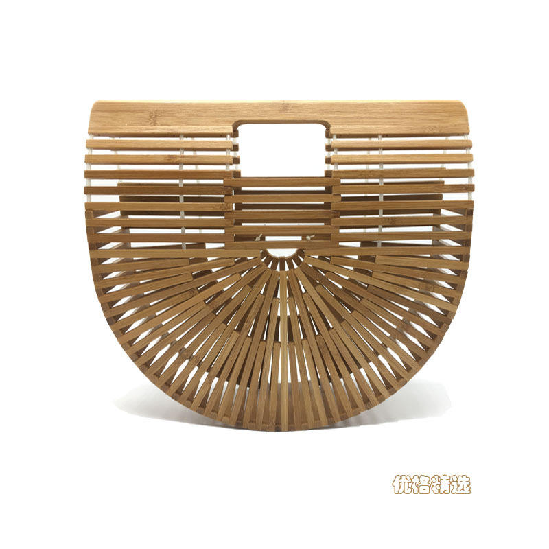 Bamboo Bag Handbag Handmade Retro summer beach bamboo woven rattan ladies portable straw bag
