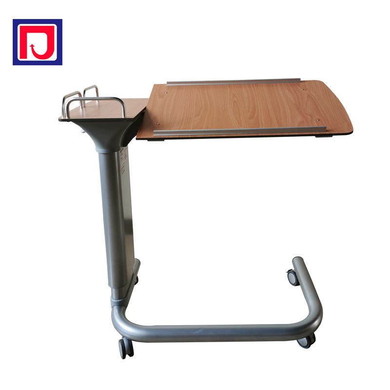 Height adjustable hospital overbed dining table for hospital bed