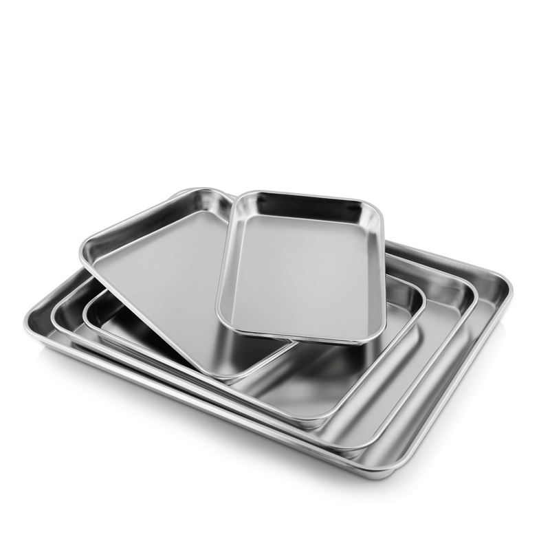 High Quality Rectangle Metal Food Tray Thick Buffet Serving Silver Stainless Steel Trays