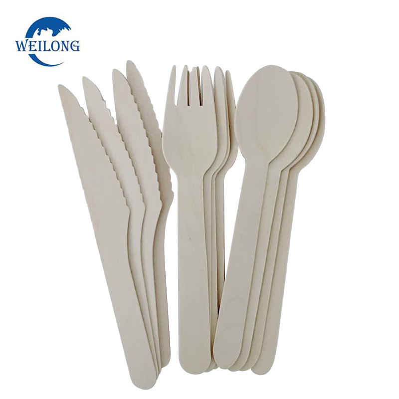 Disposable bamboo/wooden utensil fork spoon knife set wood compostable cutlery