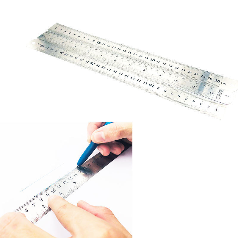 Aluminum Quilt Parallel Safety Engineering Straight Paint Mixing Scale Foot 12 Inch Function of steel Student Ruler 30CM