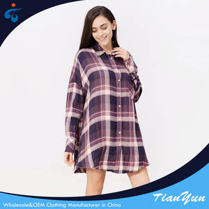 Made in China fashionable rayon classy plaid women casual korean long blouse