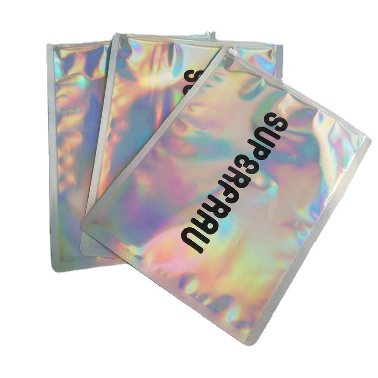 Custom printed holographic laser bag for T-shirt packaging the big size glossy bag with one side clear for clothing