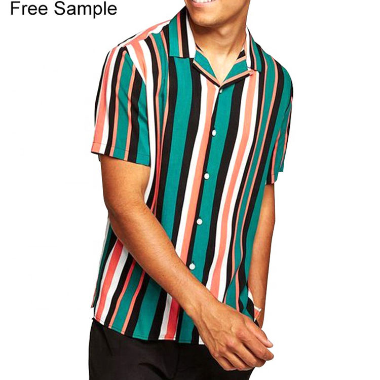 Dongguan factory wholesale custom short sleeves striped mens casual shirts
