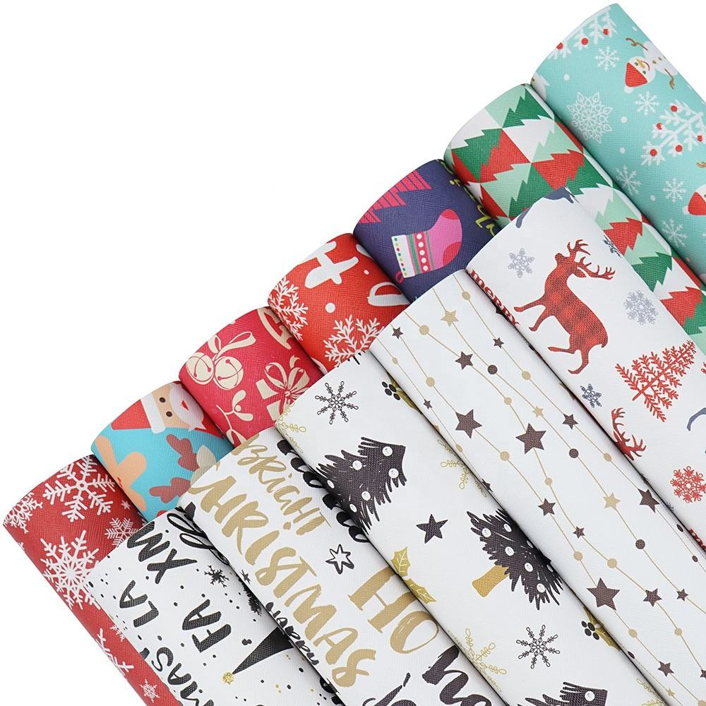A4 Christmas Printed Synthetic Faux Leather Sheets Fabric for All Kinds of Handmade Crafts Hair Bows Bags Earrings Sofa Making